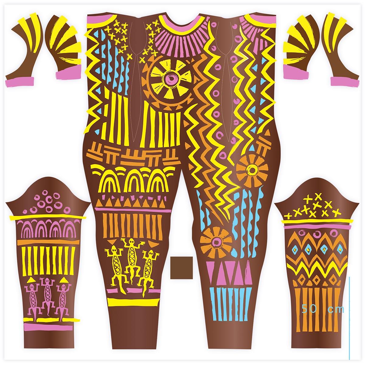 Panafrica 2009 Costumier D. Belugou. Atelier FBG. Peinture numérique pour impression