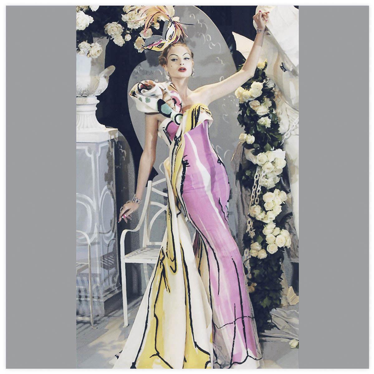 Christian Dior Haute-Couture Défilé 2007 Styliste J. Galliano Peinture à la brosse sur tissu à plat. Présentée à l'exposition Christian Dior au musée des arts décoratifs Paris en 2018