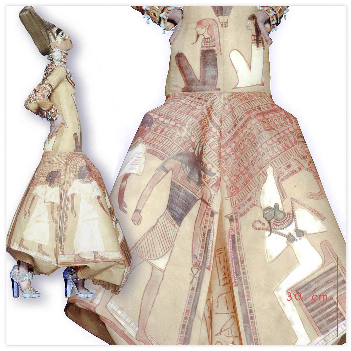 Christian Dior Haute-Couture Défilé 2004 Styliste J. Galliano Aérographe sur tissu à plat