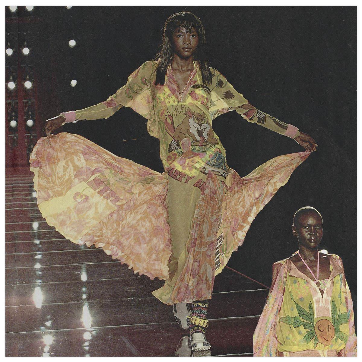 Christian Dior Haute-Couture Défilé 2000 Styliste J. Galliano Aérographe sur tissu à plat