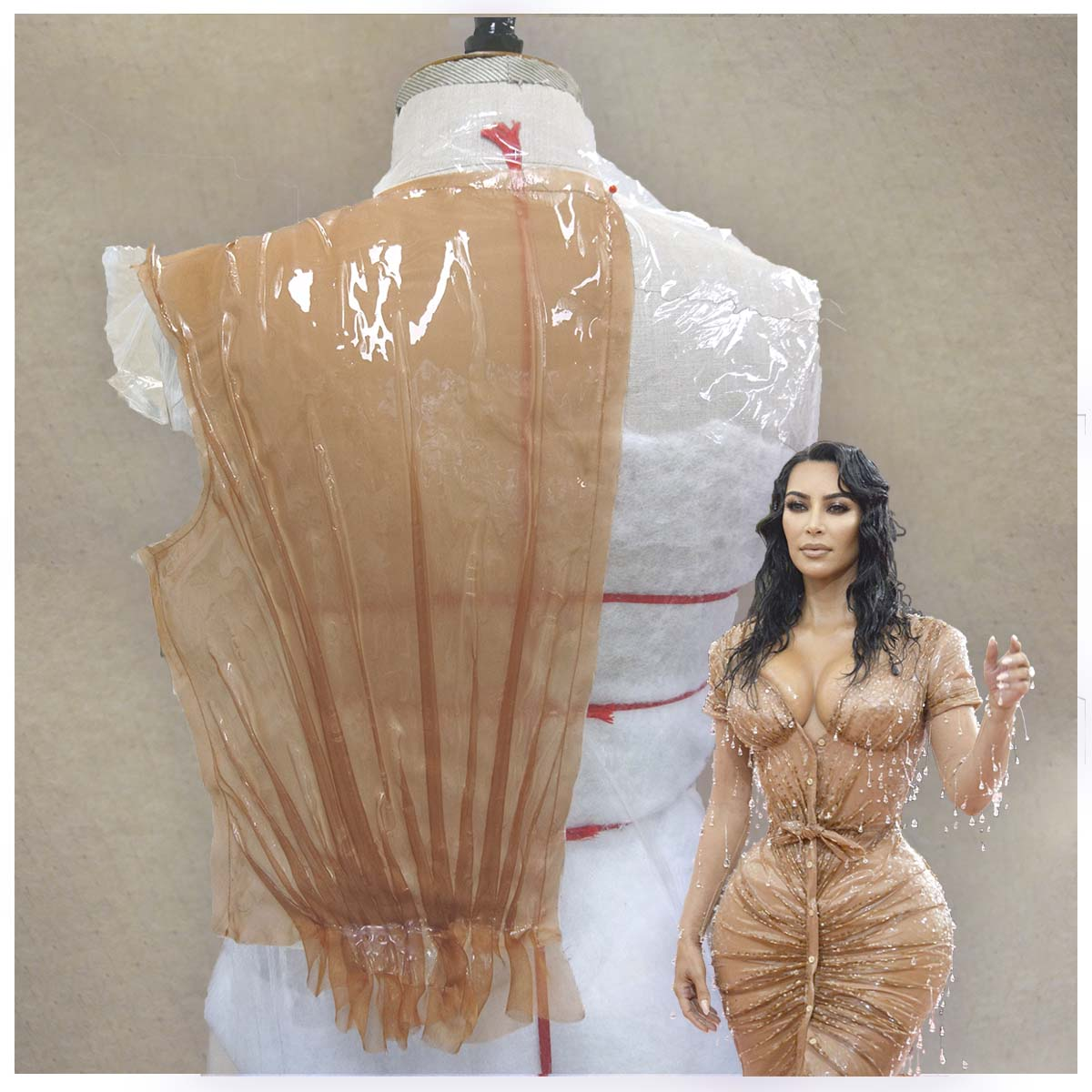 Thierry Mugler pour Kim KardashianMet Gala 2019Collaboration avec Studio FBG ParisSilicone et aérographe sur tissu